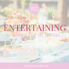 Follow our entertaining board for ideas at home with food, decor, and tablescapes.  Find tips for outdoor and holiday on a budget curated by: Joy Bender   San Diego Real Estate Agent   Luxury Realtor® #REDigitalMarketing #entertaining #parties #hosting #realestateagenttips