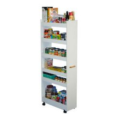 Kitchen Cart -  Rolling Kitchen Pantry Cabinet with Wood Storage Shelves | KitchenSource.com