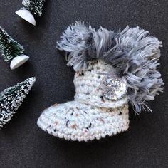 Introducing Glacier a fun wintry tweed boot topped with fluffy silver fur.  Now available in the shop! {Glacier} #Raspberriez