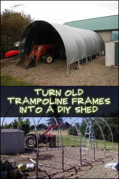 Need a strong and sturdy shed that you can also be easily taken down in the future? Use an old trampoline frame to build one!