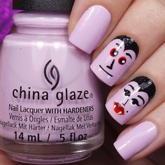 """Cambria Proskine on Instagram: """"Is there such a thing as Mr. And Mrs. Dracula? There is now! Tutorials will be up today.  I used: @chinaglazeofficial In A Lily Bit Black, white, and red acrylic paint @winstonia_store #000 kolinsky nail art brush @sechenails Seche Vite All polishes are from @hbbeautybar 