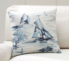 Sail Boat Print Reverse Stripe Pillow Cover | Pottery Barn