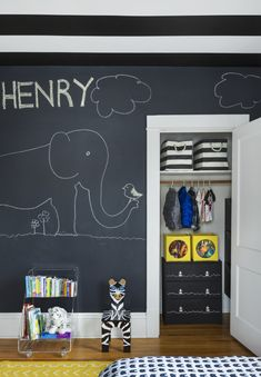 Encourage creativity with this fun and inspiring chalkboard wall in your kids' playroom!