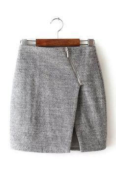 Gray Wrap Skirt with Asymmetric Zip