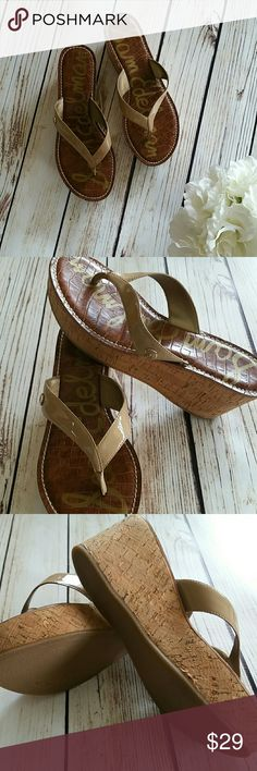 Sam Edelman nude wedge slip on sandle 7.5 Sam Edelman nude patten leather cork wedge sandle. Size 7.5. Previously loved with lots of life left. See last pic to see a small smudge on the inside strap of the right foot. However not too noticeable. Sam Edelman Shoes Wedges