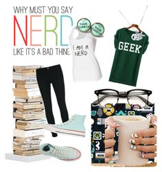 """""""nerd or geek...maybe even both?"""" by piper-williams-i ❤ liked on Polyvore featuring Opinion Ciatti, J Brand, Converse, Edge Only, women's clothing, women, female, woman, misses and juniors"""