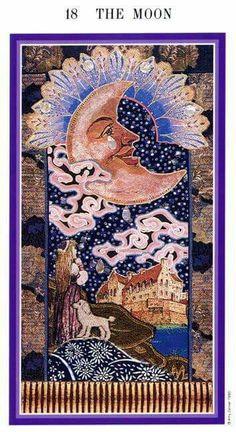 The Moon - Enchanted Tarot (Zerner-Farber Tarot) Art Nouveau, Art Deco, The Moon Tarot Card, Art Carte, Tarot Major Arcana, Postcard Printing, Dope Art, Oracle Cards, Tarot Decks