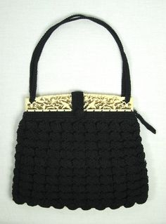 Vintage 1930s 1940s Black Crochet Purse | VintageALaMode, $150.00----someone knew what they were doing in the 1930's. I know people who would pay good money for this purse TODAY!
