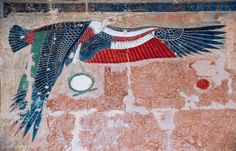 Painted relief depicting vulture of Upper Egypt, Mortuary Temple of Hatshepsut…
