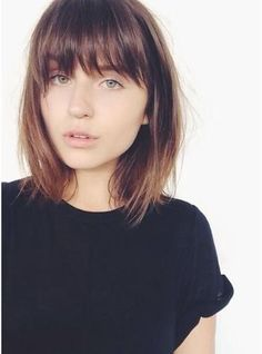 Brown Medium Length Hair with Bangs