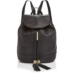 See By Chloe Vicki Backpack ($520) ❤ liked on Polyvore featuring bags, backpacks, black, knapsack bags, see by chloé, leather knapsack, tassel bag and rucksack bag