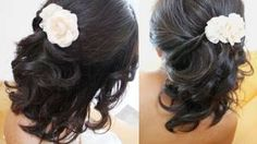Beautiful Bridal Half Updo Hairstyle for Short Hair Tutorial for Weddings Prom, via YouTube.