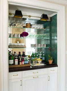 Fabulous Built In Bar Ashley Whittaker S Own New York Home On Lower Fifth Avenue I M Love With The Br And Black Double Light Fixture