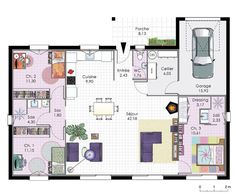 Maison BBC de plain-pied Dressed Floor Ground floor – house – BBC House on one level The Plan, How To Plan, Bungalow, Build Your House, Modern Architects, Craftsman House Plans, Cool Apartments, Studio Apartments, House Entrance
