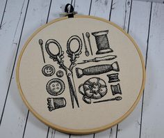 Sewing Craft Room Hoop Art - Machine Embroidery