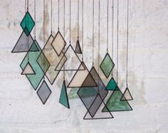 SALE Stained Glass Elements set of 9 by BespokeGlassTile on Etsy
