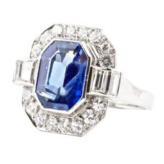 Sapphire Diamond Platinum Ring   From a unique collection of vintage fashion rings at http://www.1stdibs.com/jewelry/rings/fashion-rings/