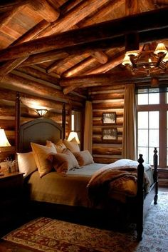walls are beautiful, traditional vs plank vs sheetrock ... light above the headboard?... lighting will be very important in a traditional log home