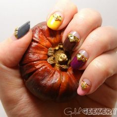 Nail Art How To: Multicolored Gelish Fall Manicure Tutorial