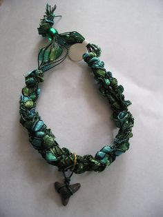 Green MultiStrand Anklet with Shark Tooth by vickijameson123, $5.00