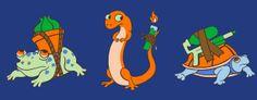 Bulbasaur, Charmander, Squirtle