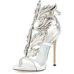 Giuseppe Zanotti Coline Wings Leather High-Heel Sandal ($1,690) ❤ liked on Polyvore featuring shoes, sandals, argento, high heel sandals, ankle wrap sandals, ankle strap sandals, leather sandals and leather platform sandals