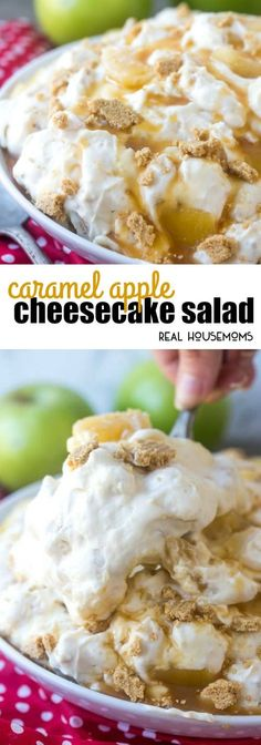 Light, fluffy and creamy this Caramel Apple Cheesecake Salad is a yummy Fall dessert that is the perfect end to any meal!