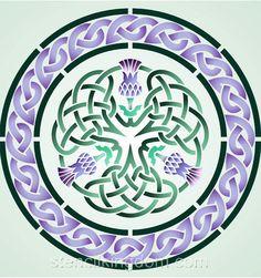 Three Thistle Celtic Circle Stencil Designs from Stencil Kingdom