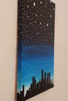 Acrylic Painting Canvas Original Boston Skyline by DillieDesigns