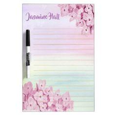 Personalized Pink Pastel Hydrangea Watercolor Dry Erase Board - watercolor gifts style unique ideas diy