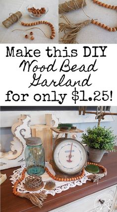 DIY Wood Bead Garland for only $1.25!