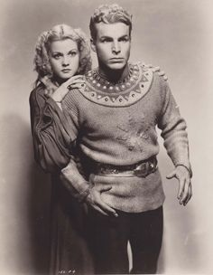 """A vintage press shot featuring cult stars Larry """"Buster"""" Crabbe and Jean Rogers for the 1936 Universal serial classic, FLASH GORDON!"""