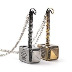 Thor Hammer Mjolnir Steel Pendant Necklace ( 2 styles )
