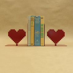 8 Bit Heart Bookends  Free USA Shipping by KnobCreekMetalArts, $49.99