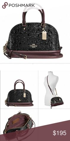 """Coach Mini Satchel crossbody bag DETAILS Pebble and patent leathers Inside zip and multifunction pockets Zip-top closure, fabric lining Handles with 3 1/2"""" drop Detachable strap with 21 1/2"""" for shoulder or crossbody wear 10 1/4"""" (L) x 7"""" (H) x 4"""" (W) Coach Bags Crossbody Bags"""