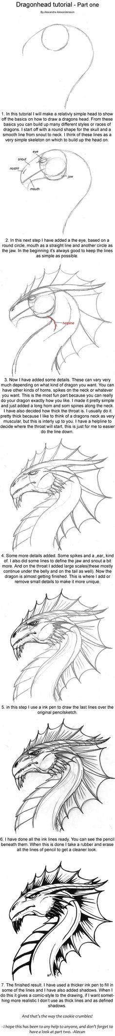 Dragonhead Tutorial part one by alecan.deviantart.com on @deviantART. Oula, je sens que celui-là je vais m'en servir souvent! ;)