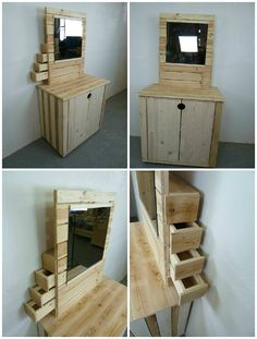 Pallet Dresser With Side Drawers #Drawer, #Dresser, #RecycledPallet