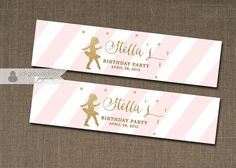 Blush Pink & Gold Glitter Ballerina Water Bottle Label with gold confetti details and pink stripes by digibuddhaPaperie, $8.00