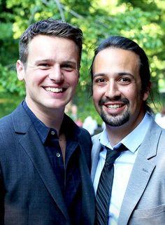 Jonathan Groff with Lin-Manuel Miranda, Public Theatre Gala Jun 9 2015