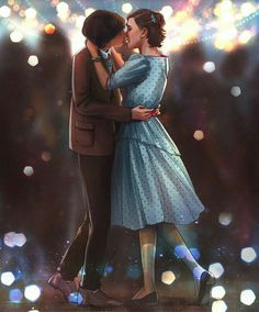 Stranger Things Art of Eleven & Mike at the Snowball dance. { Finn is actually taller than Millie but okie } Stranger Things Fotos, Stranger Things Aesthetic, Stranger Things Funny, Eleven Stranger Things, Stranger Things Netflix, Stranger Things Season, Stranger Things Merchandise, Prince Charmant, Movies And Series