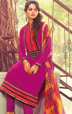 Picture of Beautiful Pink Color Patch Patta Work Churidar Kameez