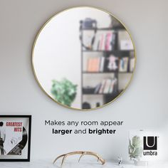 Umbra Hubba Wall Mirror | Shop Modern Round Mirrors Large Round Wall Mirror, Round Mirrors, Fairy Lights On Wall, Mirror Shop, Beautiful Mirrors, Bathroom Wall Decor, Metal Walls, Decoration, Things That Bounce
