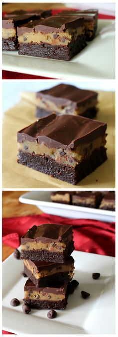 Cookie Dough Brownies. A rich fudgy brownie with a thick layer of eggless cookie dough and an extra layer of chocolate.
