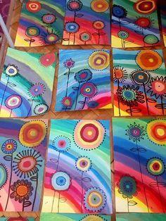 Kandinsky Art For Kids Style 31 Best Ideas Spring Art Projects, School Art Projects, Rainbow Crafts, Rainbow Art, Kindergarten Art, Preschool Art, Art Floral, Art 2nd Grade, Club D'art