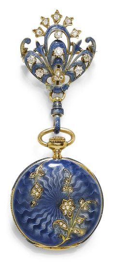 A BELLE EPOQUE ENAMEL AND DIAMOND PENDANT WATCH, TIFFANY & Co, CIRCA 1900. Mounted in gold, surmounted by a fine similarly enamelled brooch designed as a flower, set with 14 old European cut diamonds, signed Tiffany & Co. #Tiffany #BelleÉpoque #PendantWatch