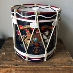 Excited to share this item from my shop: Vintage Royal Navy commerative ice bucket modern/ ice bucket tongs hard plastic England Regimental Vintage Drums, Men's Vintage, Ice Tongs, Rope Decor, Royal Navy, 1980s, Yellow, Blue