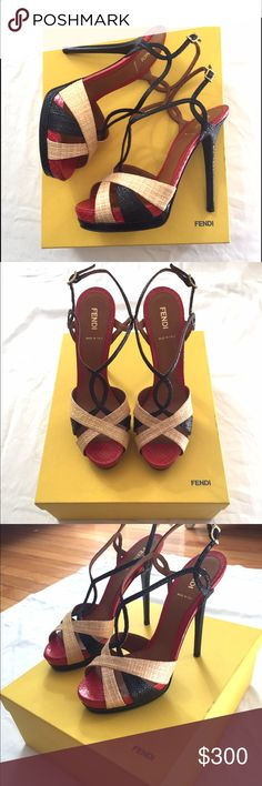FENDI sandal heel ! Black, sand and red sandal heel. Twisted straps and leather sole in size 39. Beautiful & sexy for any occasion or special event. Authentic Fendi, made in it Italy. Never been worn!!! Fendi Shoes Heels