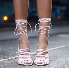 Light pink, almost white lace up strappy heels...we're in love!