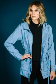 """100% Cotton Denim chambray jacket Model is 5""""7 wearing a small"""