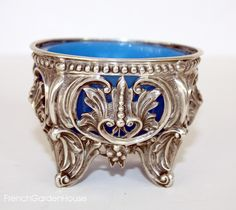 Antique French Silver Blue Opaline Pierced Open Master Salt Cellar. FrenchGardenHouse.com